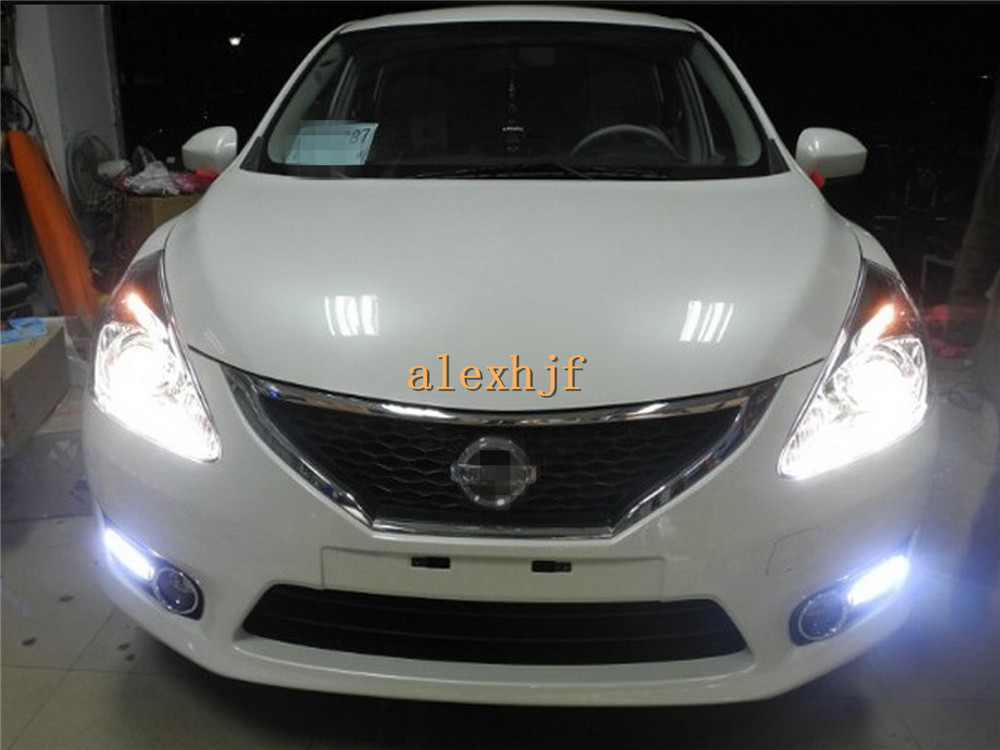LED Daytime Running Lights DRL With Fog Lamp Cover, LED Front Bumper Fog Lamp Case for NISSAN Pulsar new TIIDA 1:1, 6LEDs HA <br><br>Aliexpress
