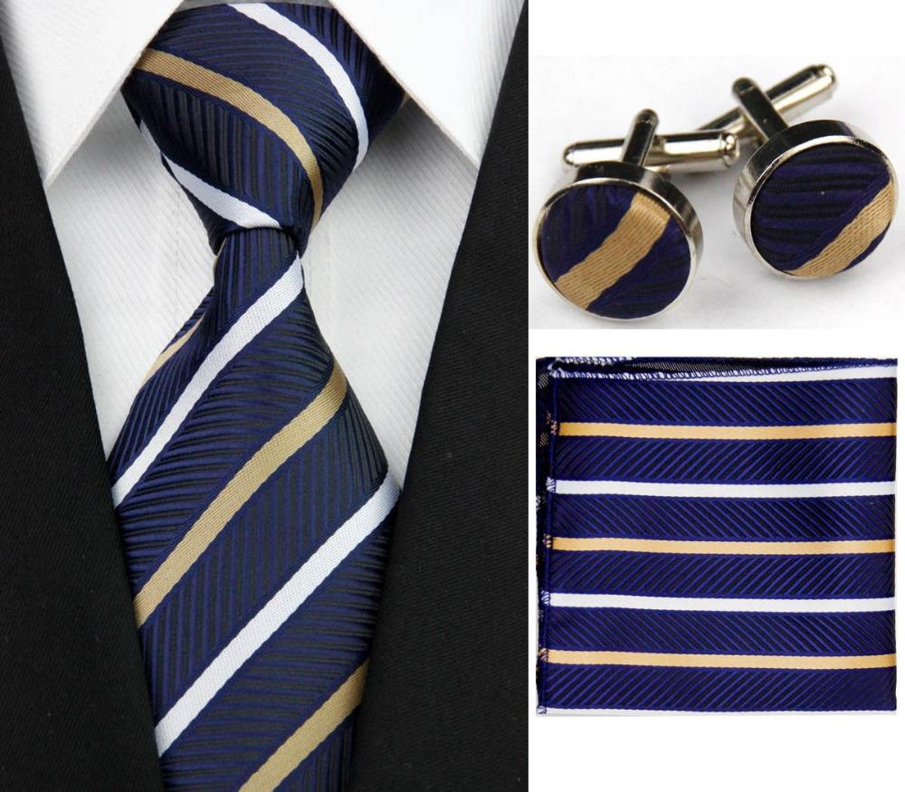 """4""""/10cm Fashion Wide Mens Accessories Striped Business Silk Neck Tie Sets Hanky Handkerchief Cufflinks Necktie for Men Gravata(China (Mainland))"""