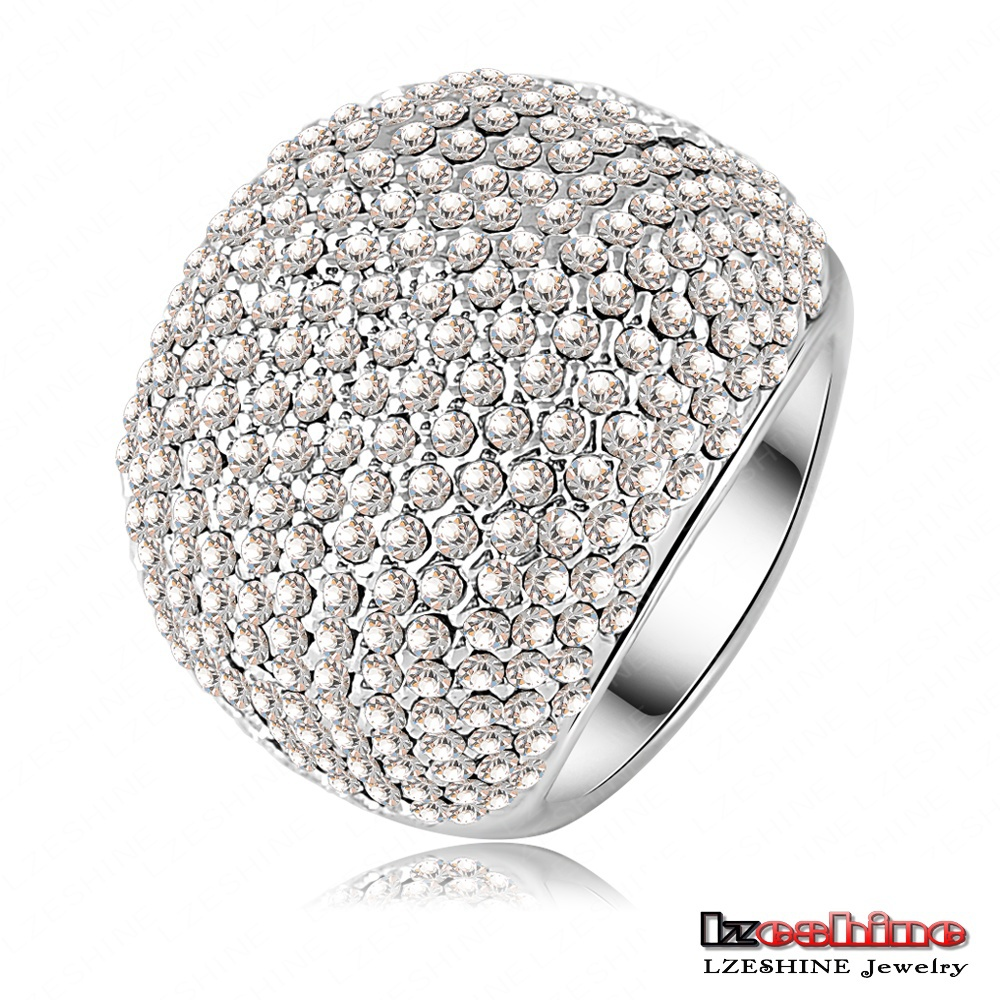 LZESHINE Brand Hot Sale Full Clear Drilling Ring Platinum Plated Noble Rings for Ladies Party anillos Ri-HQ0043(China (Mainland))