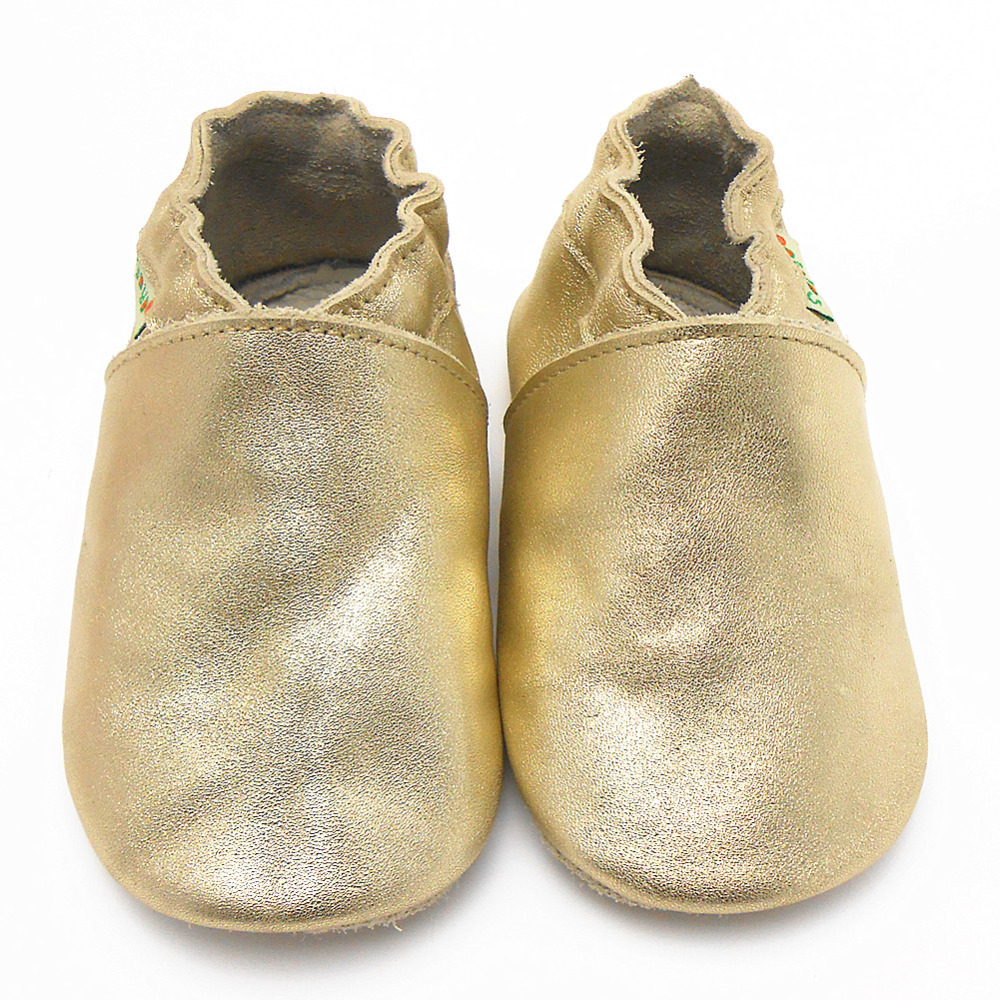 2015 New Fashion Spring Baby Moccasins Cow Leather Gold