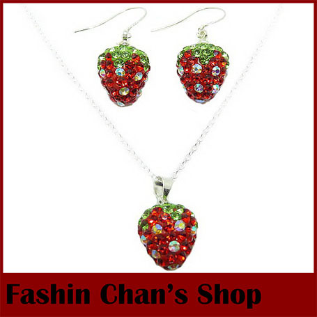 9 colors low price fashion 925 silver strawberry shamballa sets blue crystal drop earrings jewelry set women