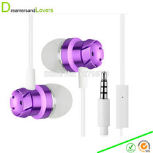 3.5mm Jack In-Ear Wired Earphone with Mic IOS Android ZTE Smartphone MP3 MP4 Players For Kids Children Adults Boys Girls Purple(China (Mainland))