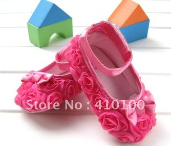 S002 children's shoe just one color Pink Mary Jane Infant Baby Shoes Girls Toddler dress soft sole Rose flower