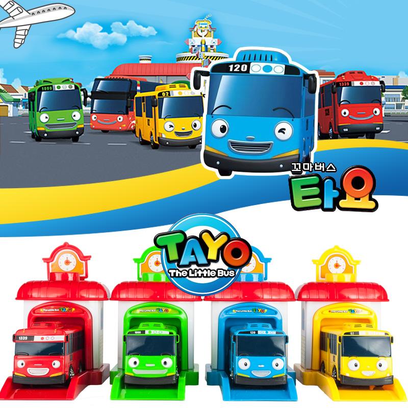 4pcs/lot Korean Cute Cartoons garage tayo the little bus model mini tayo plastic baby oyuncak araba car toys for children gifts(China (Mainland))