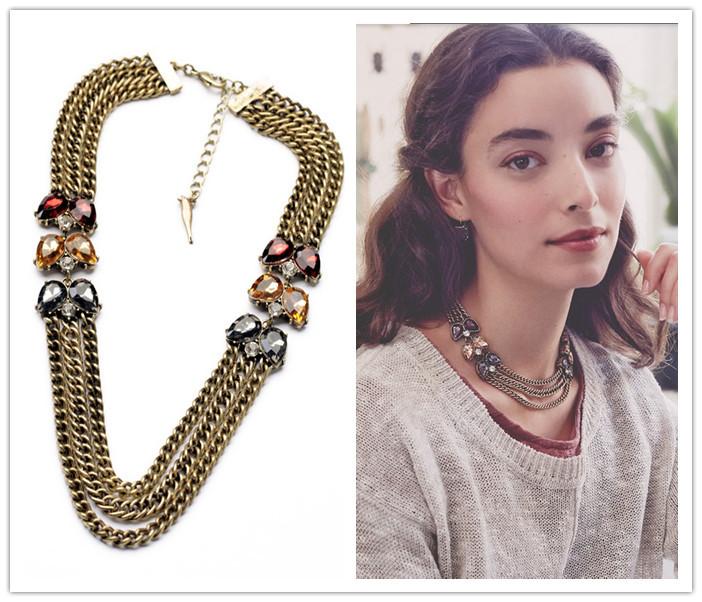 Office Lady Love Elegant Imitation Gemstone Multi Chain Bib Collares Necklace Fashion Bijoux Dress Jewlery(China (Mainland))