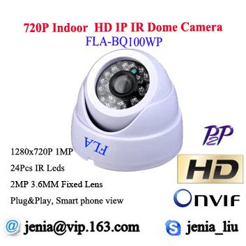 1MP Mini Dome Camera HD IP Network web onvif P2P 720P IR Video Webcam Night vision free android Infrared Security CCTV Camera(China (Mainland))