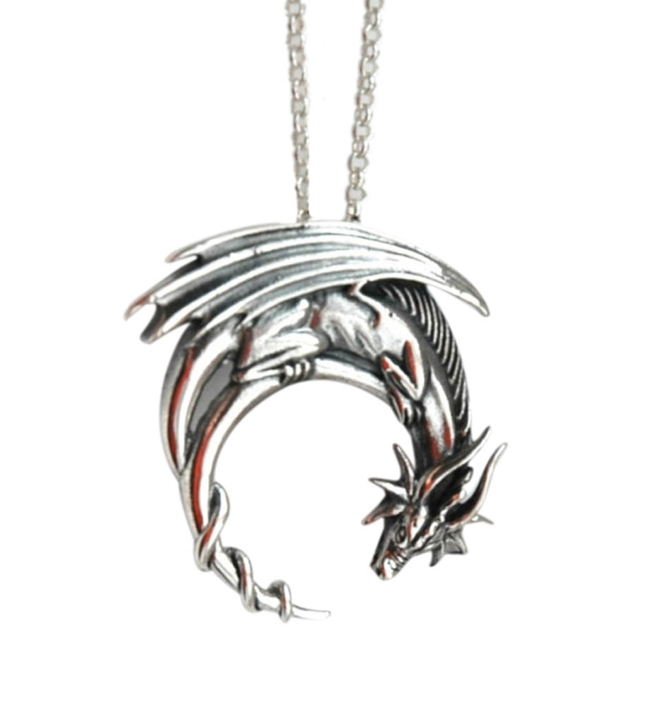 Alloy dragon necklace PREORDER winged dragon on moon pendant medieval symbolic necklace dragon jewelry charmed XR006(China (Mainland))