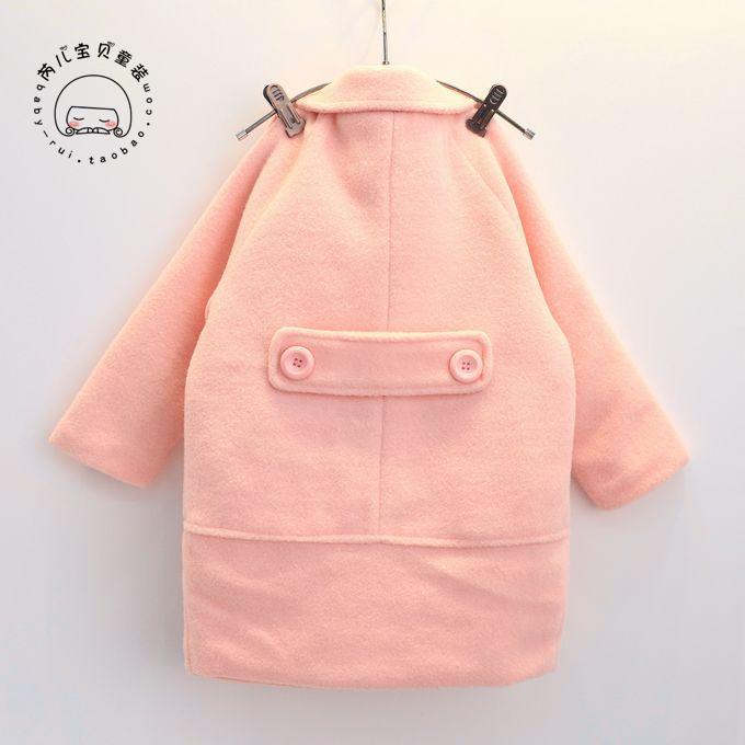 Скидки на 2016 Зима новый девушки пальто Корейский вышивка длинные шерстяные пальто бесплатная доставка