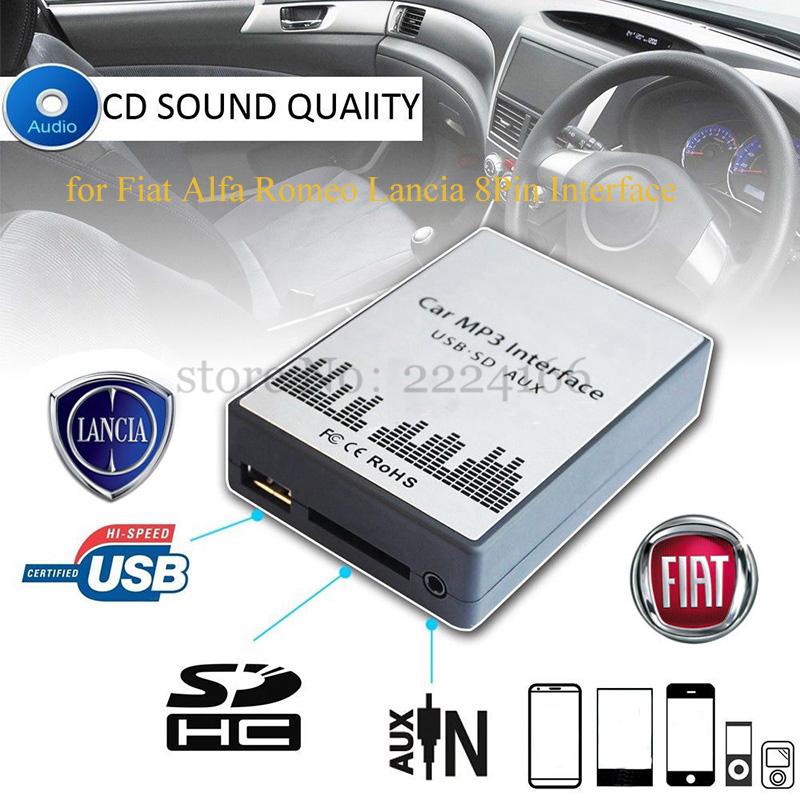 USB SD AUX car MP3 music player Adapters CD machine change for Fiat Alfa Romeo Lancia 8PIN Interface,car kit styling(China (Mainland))