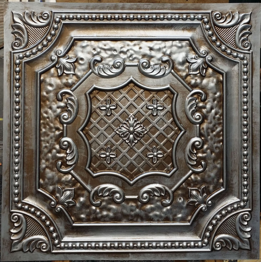 Metallic Wall Paneling : Pl faux antique tin copper metallic ceiling tiles