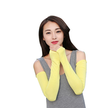 2016 Fashion Summer Women Chic Cotton UV Protection Arm Warmer Long Fingerless Gloves Sleeves RU Gift(China (Mainland))