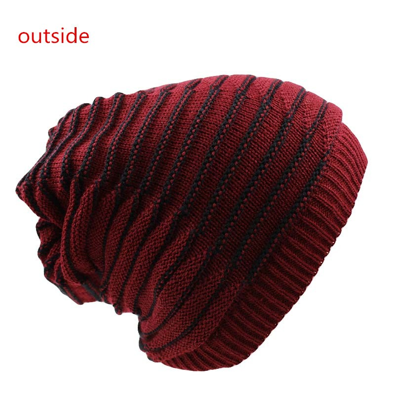 7 Colors Three Used Fashion Knit Women Hat Winter Snow Warm Hats New Arrival Chic Strip Baggy Caps Scarf Casual Knitted Bonnet