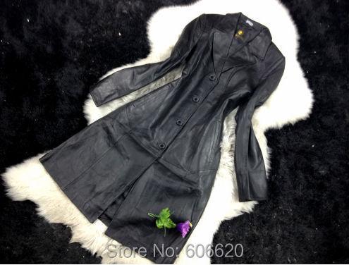 Special winter dress vestidos longcoat first layer sheepskin genuine leather jacket women - yufang yuan's store