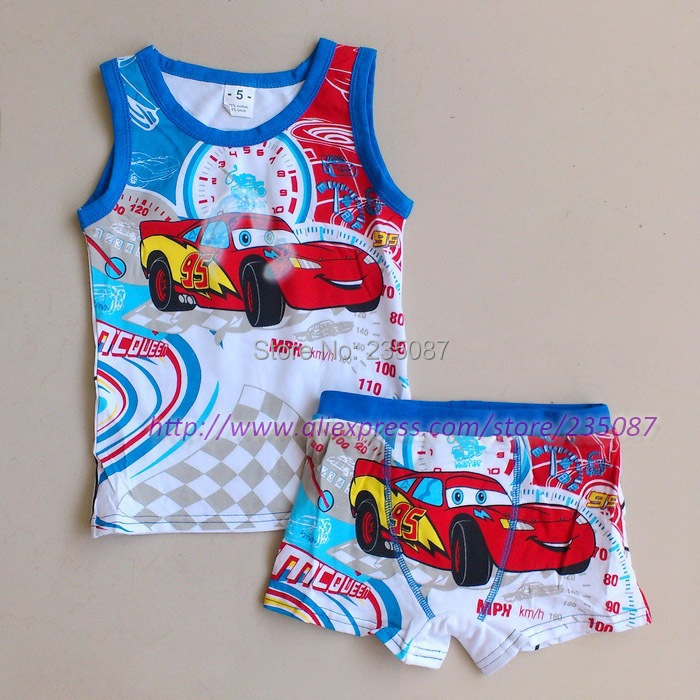 (3-7Y) Kids Clothing Set, Cute Cartoon Underwear Suit, Kids Tank Tops Boxer Briefs Set, Cars bird spongebob Sets thomas(China (Mainland))