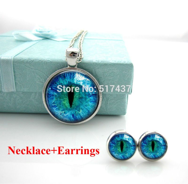 Free Shipping Cat Eye Necklace evil eye Pendant. Charms Art Picture. Photo. Blue and Black. Dragon eye necklace Handmade Jewelry(China (Mainland))