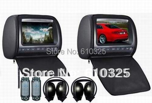 Dual 9 Inch Headrest Monitor Car DVD Player Zipper 2PCS IR Wireless Headphones Free Shipping Retail/Pair(China (Mainland))