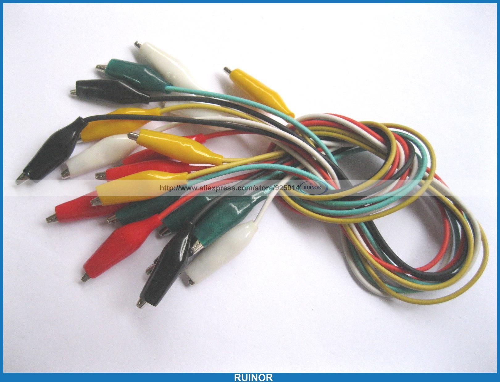 20 Set 100 Pcs 27mm Alligator Test Clip Lead 5 Colors 50cm Long Small Size<br><br>Aliexpress