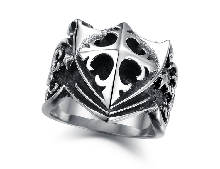 2014 Winter New Fashion Men Ring Punk Shield Style 316L Stainless Steel Rings For Men and Women For Hallowmas Funny Jewelry(China (Mainland))