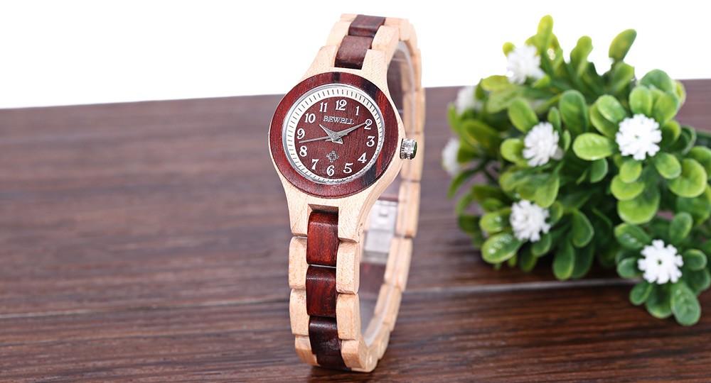 BEWELL Женщины Кварцевые Часы Водонепроницаемость Деревянный Случай Стройная Ремешок Наручные Часы