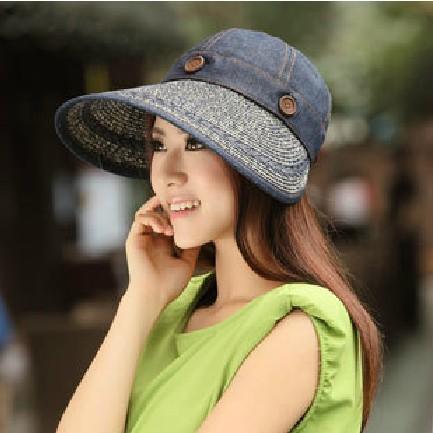Hat summer women's sun-shading dual hat anti-uv large brim sun hat beach cap strawhat visor hat free shopping(China (Mainland))