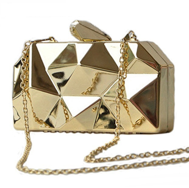 DHL Free Shipping Metal Shoulder Bag Geometric Women Clutch Chain Ladies Evening Bag Small Hand Bags for Party Irregular Shape(China (Mainland))