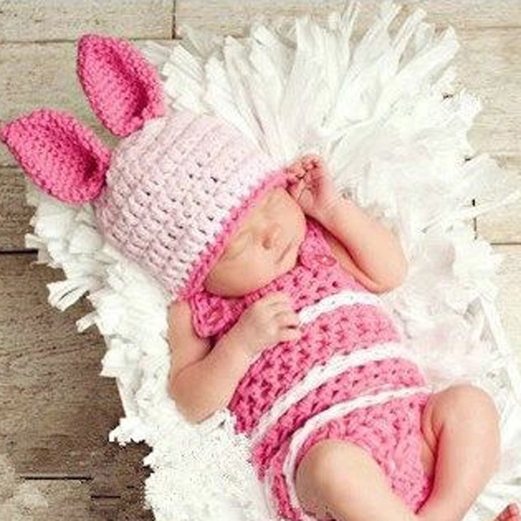 Patchwork 2015 Sale Cotton Unisex Baby Hat Hot Bunny Style Children's Knitted Crochet Suit Newborn Photography Clothing(China (Mainland))