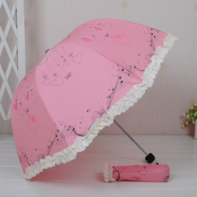 Love pattern laciness  dual  folding rain umbrella sun-shading women's  umbrella Free shipping !!!
