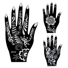 6pcs Large Mehndi Henna Tattoo Stencils 21*12cm, Flower Lace Glitter Airbrush Indian Henna Templates Stencil For Hand Painting(China (Mainland))
