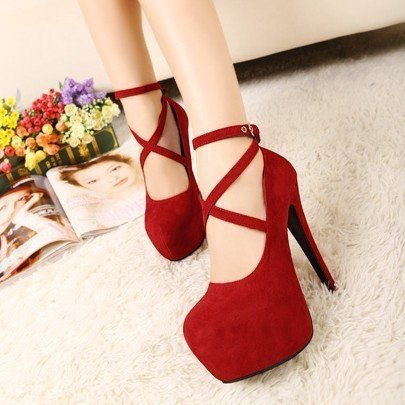 2015 New Arrival Red Bridal Shoes Sexy Lace Up Thin Heels Red Bottom High-Heeled Women Pumps A20(China (Mainland))