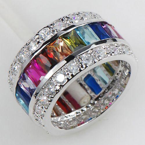 Morganite Blue Topaz Garnet Amethyst Ruby Pink Kunzite Aquamarine 925 Sterling Silver Ring size 6 7