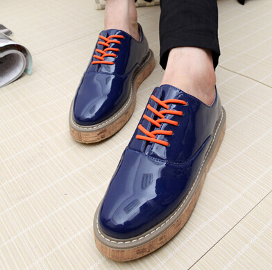High quality Fashion Men's Flats Casual Oxfords shoes Patent leather Male shoes Free shipping 0.7/2(China (Mainland))