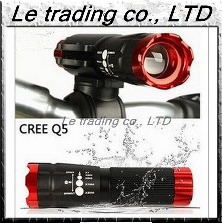 Portable 240LM Mini Zoom CREE Q5 LED 3 Model Bicycle Riding Flashlight TorchFree Shipping
