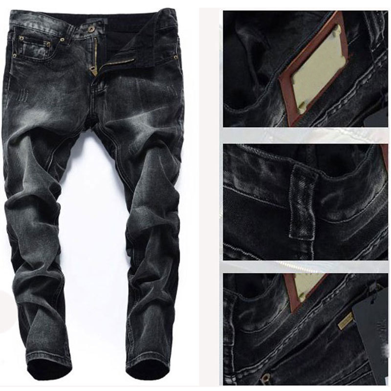 Wholesale brand men jeans,2015 New 100 % cotton ripped jeans for men,fashion classic duck color jeans men straight pants F2053(China (Mainland))