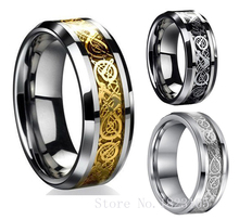 Vintage Gold Free Shipping Dragon 316L stainless steel Ring Mens Jewelry for Men lord Wedding Band male ring for lovers 3 COLORS(China (Mainland))