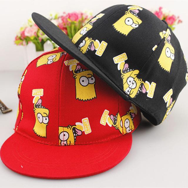 Новое поступление прекрасный мультфильм симпсон хип-хоп дети мода бейсболки Snapback ...