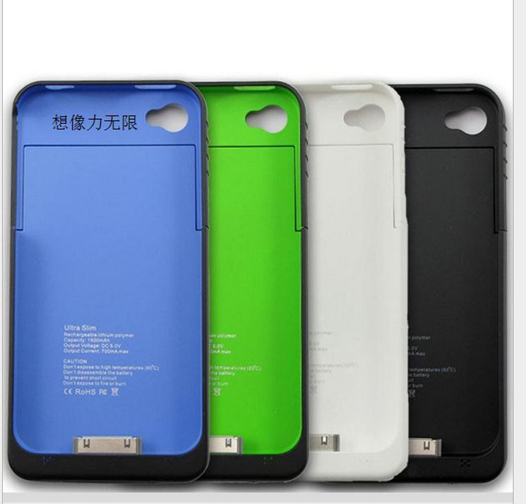 1900mAh Rechargeable External Battery Backup Charger Case Cover Pack Power Bank for iPhone 4 4S f(China (Mainland))