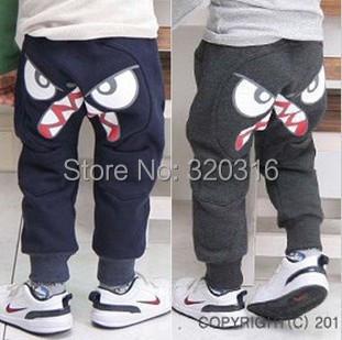 Boy pants Korean foreign trade children's clothing brand cartoon eyes thin fleece pants harem pants breeches TZ18C05(China (Mainland))