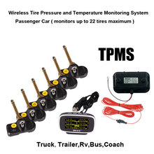Wireless Tire Pressure and Temperature Monitoring System Monitors up to 22 tires maximum for Truck Trailer RV Bus Cocach