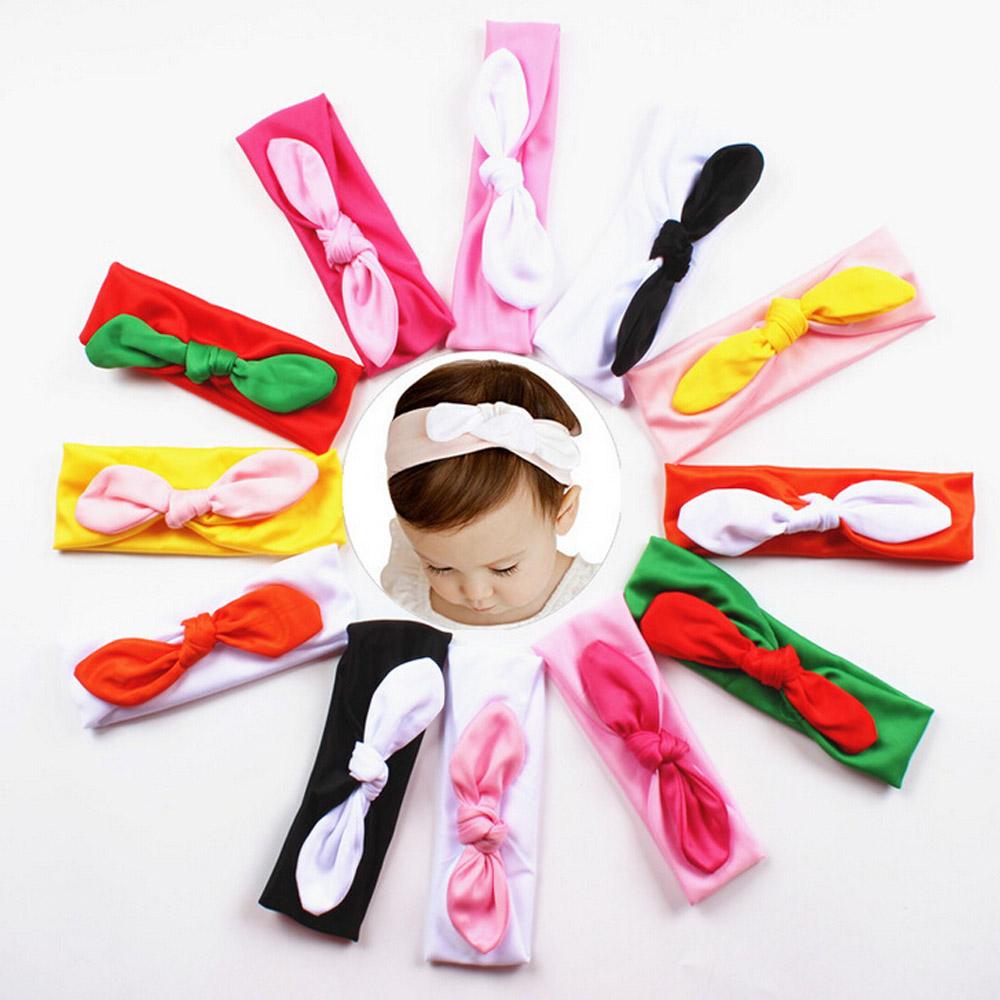 hot sale 12 colors korean fashion Kids Girls Rabbit Bow Hairband cute Baby Headband solid Turban Knot Head headscarf vee mall(China (Mainland))