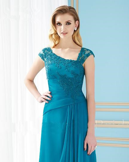2015 Mother dress Turquoise Cap Sleeve Appliqued Lace Long Chiffon Mother of the Bride Dresses Gowns Vestidos Plus size XY324(China (Mainland))