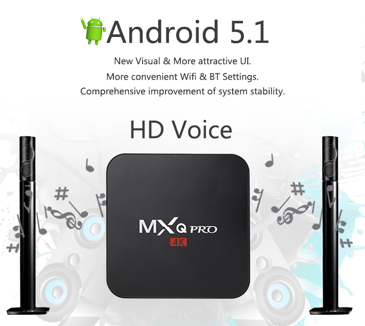 MXQ Pro Android TV Box Amlogic S905 Quad Core Android 5 1 DDR3 1G Nand Flash
