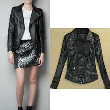 [B-1403] Free shipping 2014 Winter hot new Women rivets embossed leather motorcycle leather jacket Drop shipping supported!(China (Mainland))