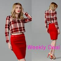 Женский костюм Ling Plaid O-Neck Shirt , o s M l Plus Above Knee Skirts