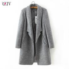 2016 women winter autumn jacket long women coat slim suit collar long style soild woolen coat female jacket(China (Mainland))