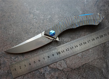Wild boar Shirogorov poluchetkiy TC4 titanium D2 camp hunt outdoors survival Flipper tactical folding pocket knife bearing tools(China (Mainland))