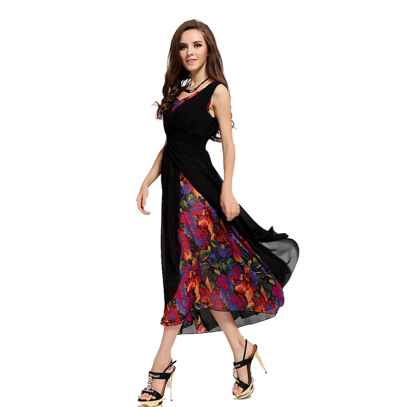 Nice Fashion Long Style Summer Dress Nice Chiffon Women Print Dresses Sleeveless Women Dress
