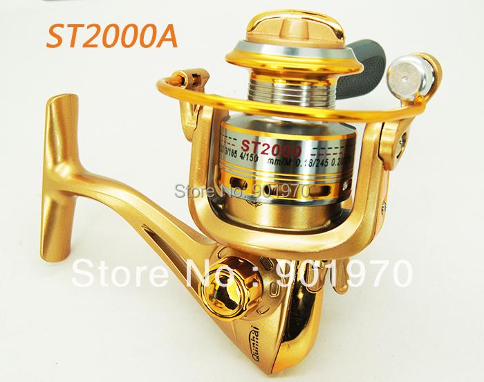 Top quality Aluminium Spool SPINNING FISHING REEL 8BB 5.1:1 ST2000 Free shipping 1pcs.2 colors available(Hong Kong)
