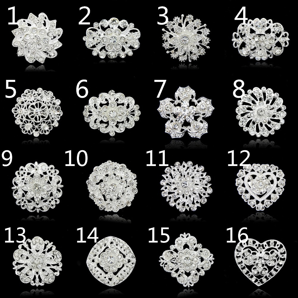 No minimum order !!!!!! Fashion brooches pins silver vintage crystal brooch bouquet for wedding womens brooch(China (Mainland))