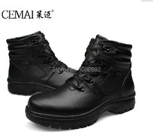 Winter snow boots Man OutDoor Shoes,Lace-Up Warm Plush Fur Boots leather shoes Ankle boots for men big size 49 50 51 52 53 54(China (Mainland))