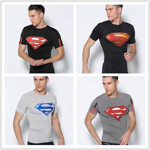 Men's Superman Short Sleeve Fitness T shirt Men Sport Gym Compression shirt Bodybuilding Cycling Basketball Tee Shirts Jersey(China (Mainland))